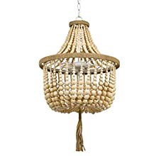"Stone & Beam Modern Farmhouse Natural 2-Light Chandelier, 24"" H, With Bulbs, Real Wood Beads"