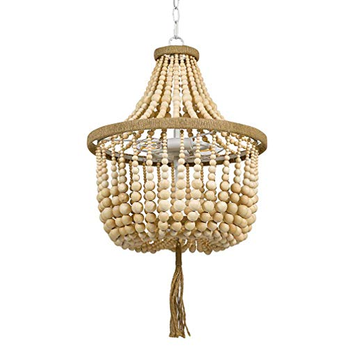 Stone & Beam Modern Farmhouse Wood Bead Ceiling Pendant Chandelier Fixture With 2 LED Vintage Light Bulbs - 14 x 14 x 24 Inches, Natural (Wood Bead Light Pendant)