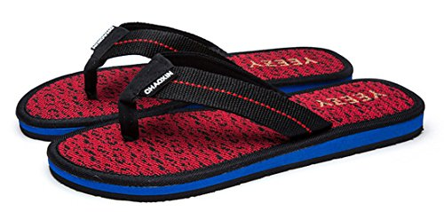 Anbover Heren Comfortabele Lichtgewicht String Sandaal Strand Flip Flops Rood