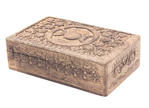 DharmaObjects Triple Moon Hand Carved Jewelry Trinket Keepsake Wooden Storage Box (Triple Moon, Large) from DharmaObjects