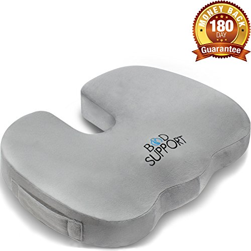 Seat Cushion Memory Foam - With Orthopedic Design To Relieve Coccyx, Sciatica And Tailbone Pain From Prolonged Sitting In The Car, Office Or Kitchen Chairs