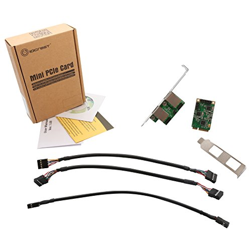 I/O CREST SI-MPE24046 2-Port Gigabit Mini PCI-e Ethernet Network Interface Card