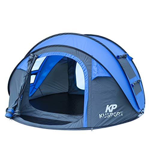 Kusport ZP04 3-4 Person Pop Up Dome, Automatic Setup Family Beach Camping Tent, Blue
