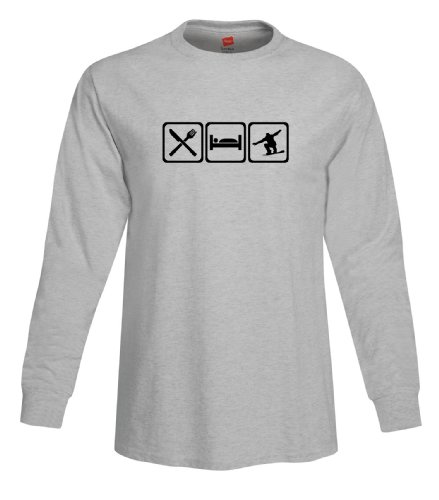 ShirtLoco Men's Eat Sleep Snowboard Long Sleeve T-Shirt, Light Steel Extra Large