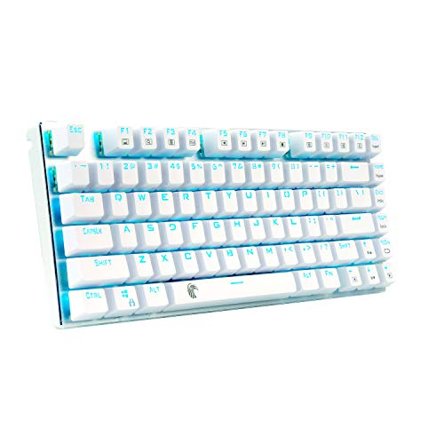 Mechanical Gaming Keyboard, E-Element Z88 with Blue Switches, Cyan LED Backlit, Water Resistant, Compact 81 Keys Anti-Ghost, White Silver