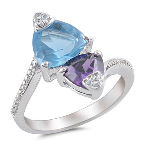 (Simulated Amethyst Simulated Aquamarine Trillion Ring New .925 Sterling Silver Band Size 9 )