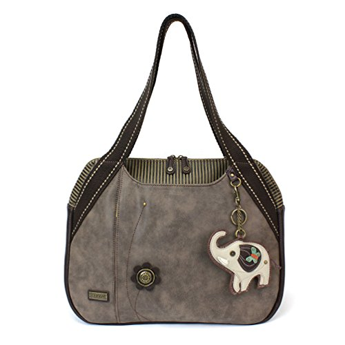 Elephant Charming (Chala Handbag Shoulder Purse Tote Bag with Grey Elephant Charm (835EG5))