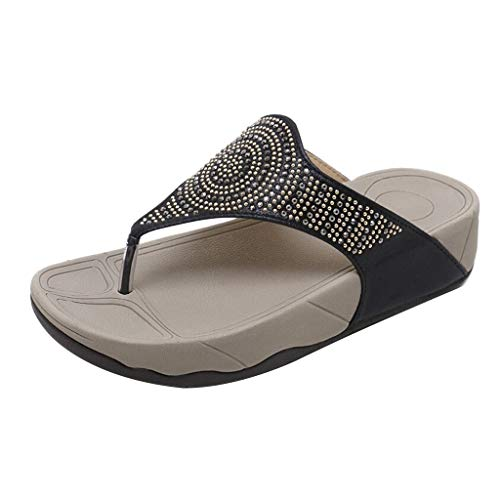 Womens Platform Wedges Slide Sandals Soft Sole Non Slip Slippers 2019 Flat Rhinestone Flip Flops (US:8, Black)