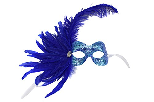 Missy Turquoise Glitter Feathered Women's Masquerade Mask (Feathered Masquerade Mask)