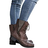 Fisace Women's Winter Round Toe Military Lace Up Knit Ankle Cuff Low Heel Combat Boots (various)
