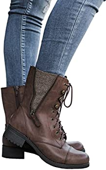 Fisace Women&#39s Knit Ankle Cuff Low Heel Combat Leather Boots