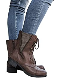 Womens Winter Round Toe Military Lace Up Knit Ankle Cuff Low Heel Combat Boots Marten Boot Leather Boot