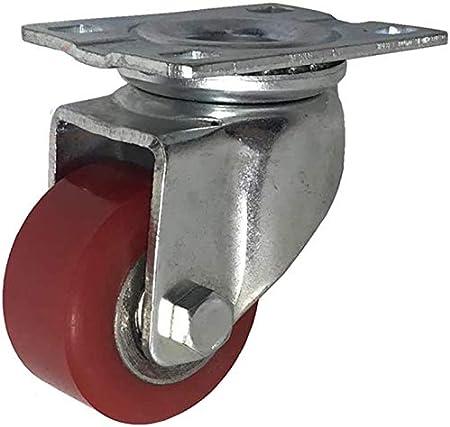 WQL 4 roulettes Fortes Charges roulettes industrielles 40 mm 50 mm roulettes pivotantes /à Plaque PU silencieuse 1000 kg avec Support en Acier pour freins-2inch 2brake+2swivle