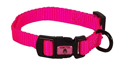 """Hamilton Adjustable Nylon Dog Collar, Hot Pink, 3/8"""" x 7-12"""""""