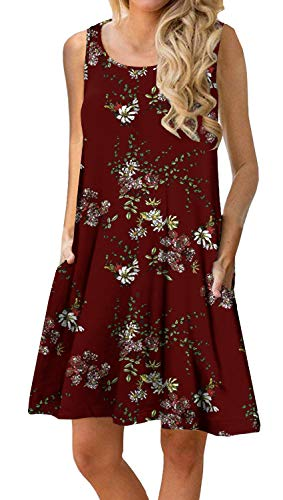 PrinStory Women's Summer Casual Sleeveless Floral Printed Swing Dress Sundress with Pockets Floral Printed Wine Red S
