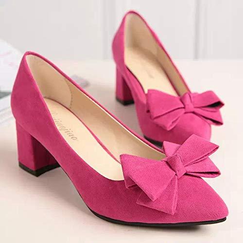 Alto Mujer Medio Zapatos De De Tacón Zapatos De Bajo Medio Bajo con Zapatos alto Yukun con Tacón zapatos Alto Verano de Tacón De De Grueso Tacón Tacón Zapatos Red Rose tacón Zapatos Tacón Ocupación Rojo xUwzqRg1F