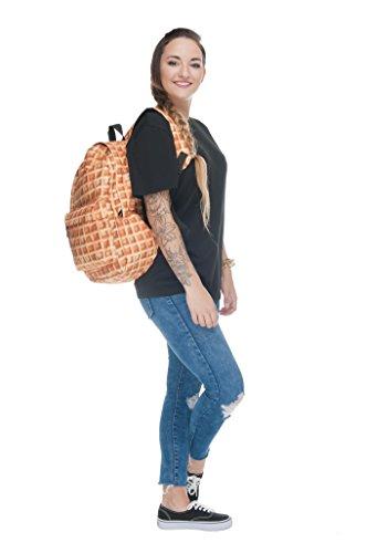 Rucksack Luggage Cabin Printed Fully School Travel Gym Women's Fringoo Backpack Waffle txOqA0O