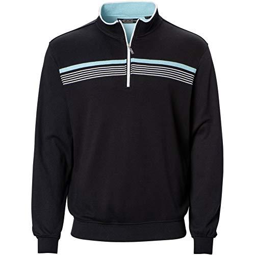 Carnoustie Mens Chest Stripe 1/4 Zip Pullover Black L