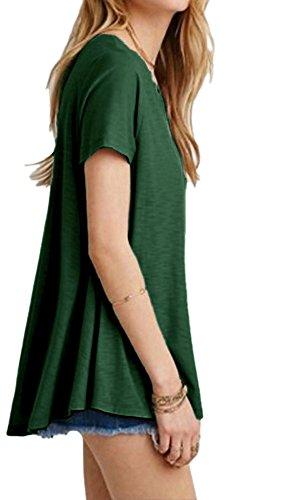 Foncé Tunique Afibi Neck Aux Scoop shirt Base Vert Femmes De Courte Balançoire T Vrac Manche En W6nzWrT