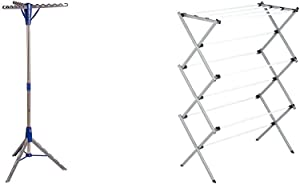 Honey-Can-Do Tripod Clothes Drying Rack, Blue & Large Folding Drying Rack, Silver/White