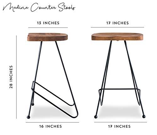 Kitchen Edloe Finch ( Modern Bar Counter Stools Chairs Iron Base, Solid Sheesham Wood, Honey modern barstools