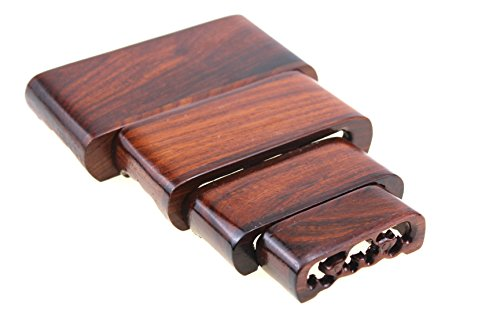 Oriental Furniture Chinese Display Stand Wooden Rectangle Shape Solid Rosewood Wood Display Mini Stands Pedestal Base Holder for Small Little Things Items Home Decoration Include 4 Stands Sell by Set
