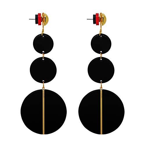 Black Resin Dangling Earrings for Women- Bohemian Statement Acrylic Hoops Earrings (Black)