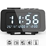 Viktle Alarm Clock Radio - FM Radio, Dual USB Port for Charging, Temperature Display, Dual Alarms, 5 Level Brightness Dimmer, Adjustable Alarm Volume, Sleep Timer for Bedrooms