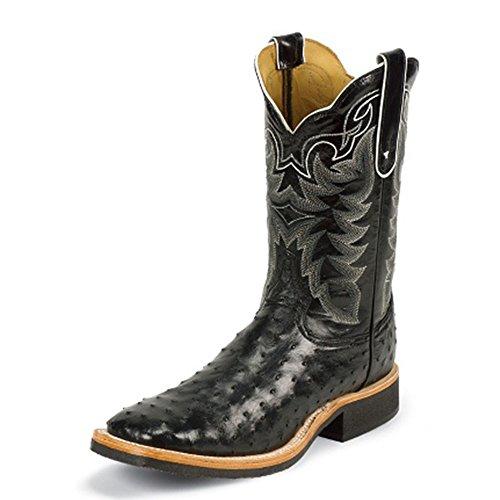 Tony Lama Mens Chadron Black Altezza 11 (8990) | Piede Nero Fq Ostrich | Stivali Western Pullon | Stivale Di Pelle Di Cowboy Nero | Realizzato A Mano Negli Stati Uniti