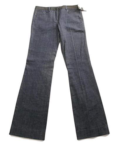 (Robert Rodriguez Wide Leg Jeans Lamb Leather Waistband Trousers - 8 Dark Blue)