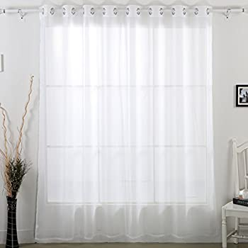 Deconovo Home Decorations Delicate Sheer White Curtains Grommet Wide Width For Bedroom 80W