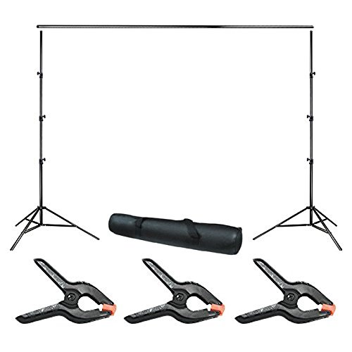 Julius Studio 10 ft. Wide Adjustable Background Muslin Support Structure System Stand and Cross Bar for Screen Backdrop with 3 Pack of Support Clamp, Stable Thick Pole, Photography Studio, JSAG242 - Muslin Support