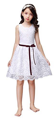 - Shop Ginger Wedding White Flower Girl Dress Lace Bow Sash Children Communion D6 150 (8-9Y, Wine)