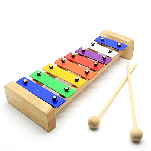 CELEMOON Natural Wooden Toddler Xylophone Glockenspiel For Kids with Multi-Colored Metal Bars Included Two Set of Child-Safe Wooden Mallets (8-tone) by CELEMOON