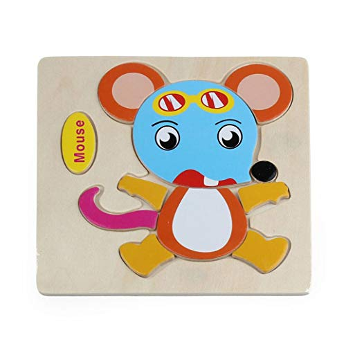Gbell Wooden Puzzle Set for Preschool Toddler, Cute Animal Fruits Jigsaw Board Educational Toy Gift for 1-3 Year Old Baby Girl and Boy Kids - Rocket Butterfly Plane Cherry Balloon Mouse Pineapple (E)