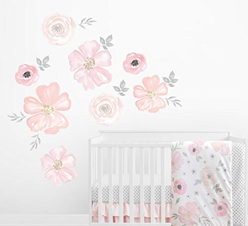 Sweet Jojo Designs Blush Pink, Grey and White Large Peel and Stick Wall Mural Decal Stickers Art Nursery Decor for Watercolor Floral Collection - Set of 2 Sheets -