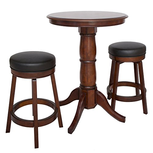 Hathaway Oxford 3 Piece Hardwood Pub Table Set, Walnut (Hardwood Pub Table)