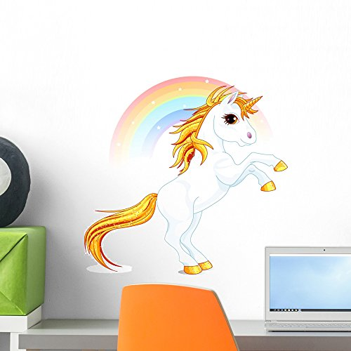 Rainbow Unicorn Wall Decal by Wallmonkeys Peel and Stick Gra