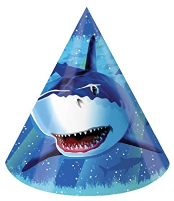 Creative Converting Shark Splash Birthday Party Hats, 8 Count