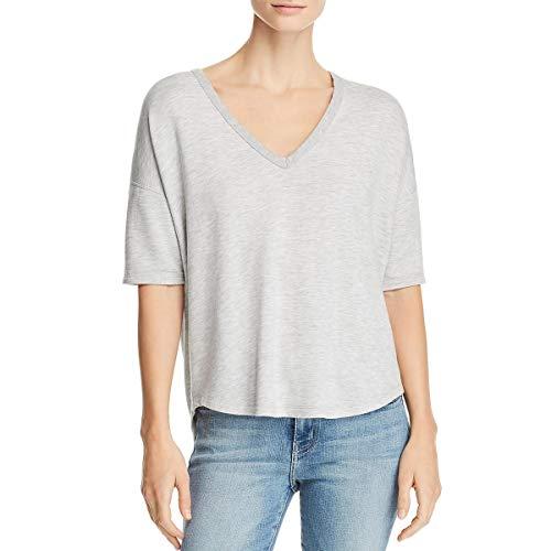 - rag & bone Womens Phoenix Hi-Low V-Neck T-Shirt Gray XS