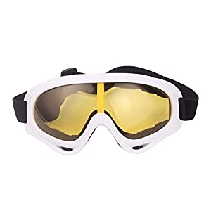 Minalo UV Protection Outdoor Sports Ski Glasses CS Army Tactical Military Goggles Windproof Snowmobile Bicycle Motorcycle Protective Glasses Ski Goggles (White)