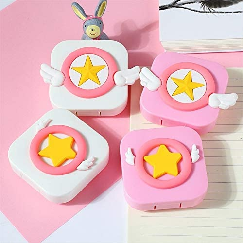 コンタクトレンズケース、ガールズハートアイレンズケース、漫画のコンタクトレンズ近視パートナーボックスのトラベルケース cases (Color : Pink-small wings)