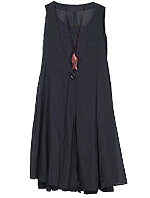 Mordenmiss Women's Cotton Linen Sleeveless Dress Summer Patchwork Plaid T Shirt Dresses with Pockets