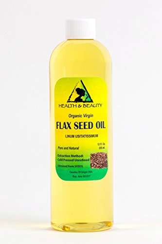 Flax Seed Oil Unrefined Organic Carrier Virgin Cold Pressed Raw Pure 12 oz
