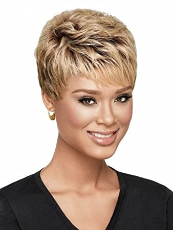 Yx Synthetic Wigs Short Hair Wavy Blonde Wig With Choppy Face Framing Bangs For Women