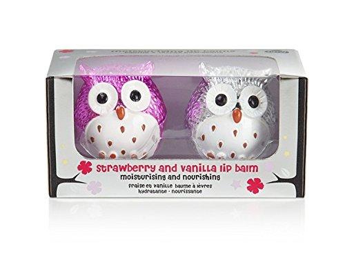 NPW-USA Strawberry/Vanilla Owl Lip Balm Duo, Silver/Pink Metallic