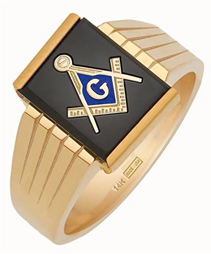 Men's 14k Open Back Gold Masonic Freemason Mason Ring Mens Open Back Masonic Ring