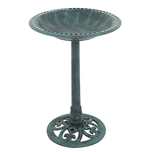 "Nova Microdermabrasion 28"" Pedestal Bird Bath Antique Birdbath Bowl Outdoor Garden Vintage Décor Backyard Feeders,Green Rustic"