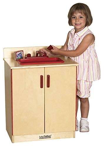 Play Sink (ECR4Kids Birch Pretend Play Kitchen Sink Playset for Daycare, Natural)