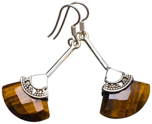 Natural Tiger Eye Handmade Unique 925 Sterling Silver Earrings 2